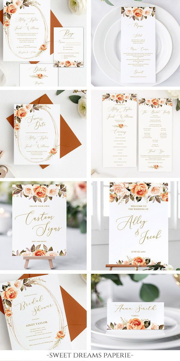 Fall Wedding Invitation Template Burnt Orange Floral Wedding Invitation Set Diy Instant Download Printable Adley Suite In 2020 Fall Wedding Invitations Floral Wedding Invitations Orange Wedding Invitations