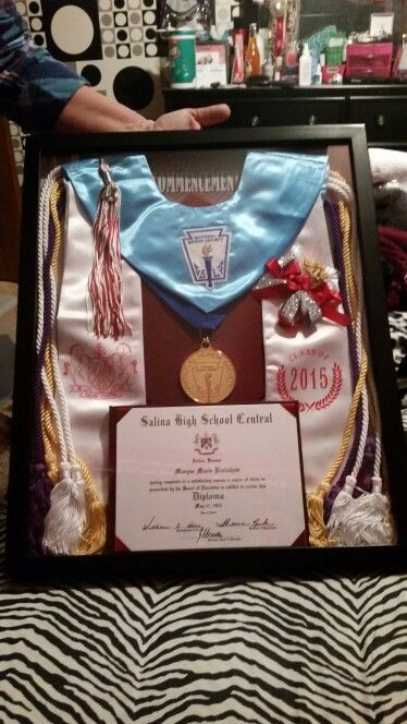 Graduation display  Includes: Cap, Cords, Diploma, Tassel, Program, Stole, Flower, and Medal