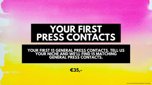 Your first 15 general press contacts. Micro investment, cheap services for bloggers and business owners. Micro investment, cheap services for bloggers and business owners. Get one of these tiny investment and grow your business and blog fast! www.wanderlustandcompany.com/shop