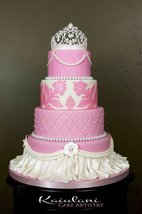 Pink Princess Quinceanera Cake cakepins.com