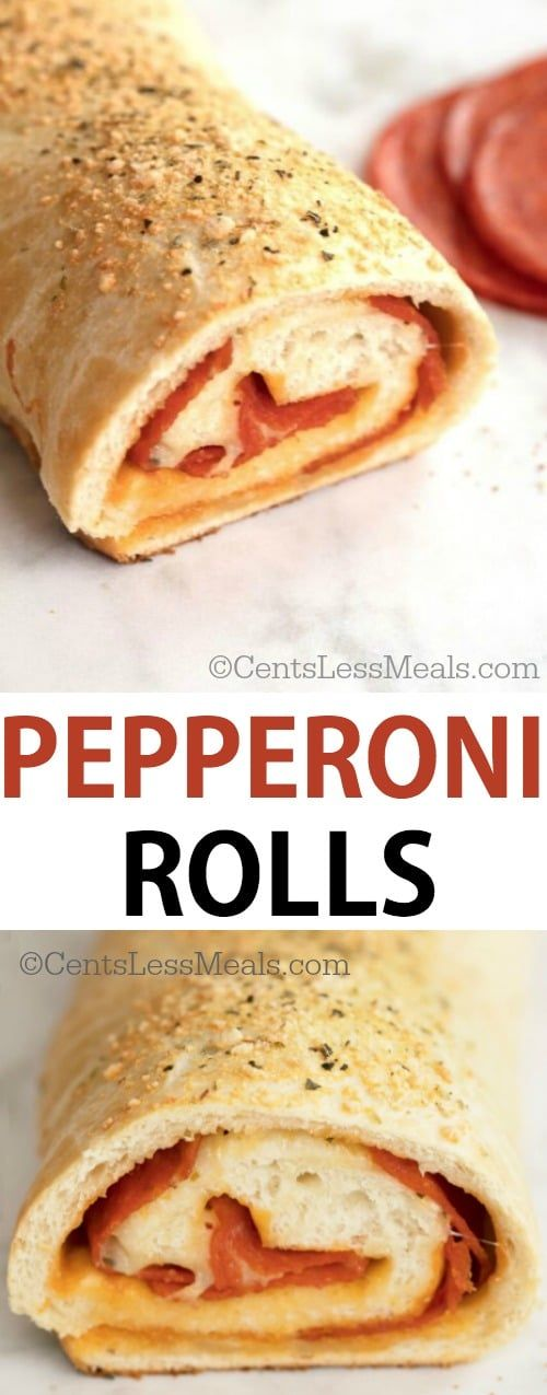"Easy and cheesy, this pepperoni roll recipe uses frozen bread dough as a simple and tasty version of pizza dough. The result is a wonderfully crispy outer crust that's soft on the inside -- perfect for ""caressing"" the delicious ingredients!"