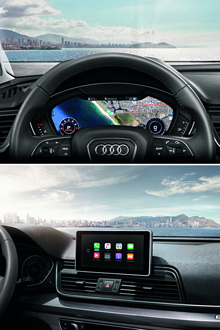 2018 audi heads up display. brilliant display 2018 audi q5 head up display top and infortainment system bottom inside audi heads up display