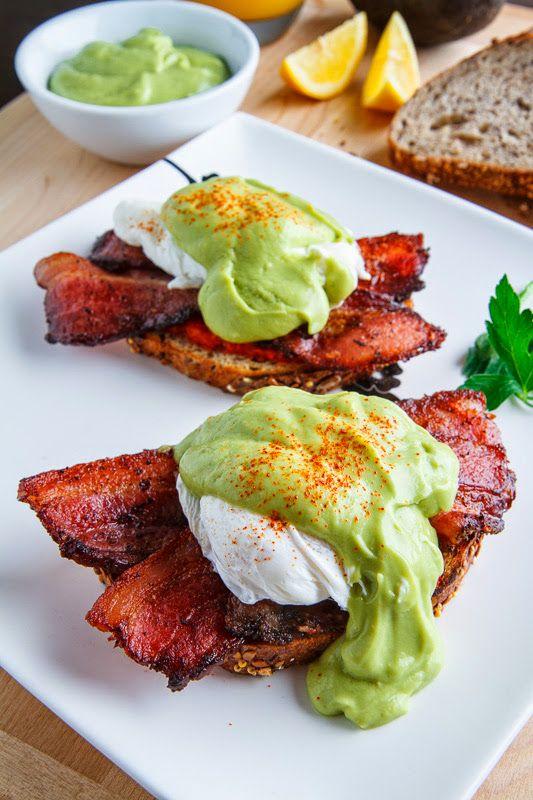 Eggs Benedict with Bacon, Avodaise (Avocado Hollandaise) and Harissa – via Closet Cooking