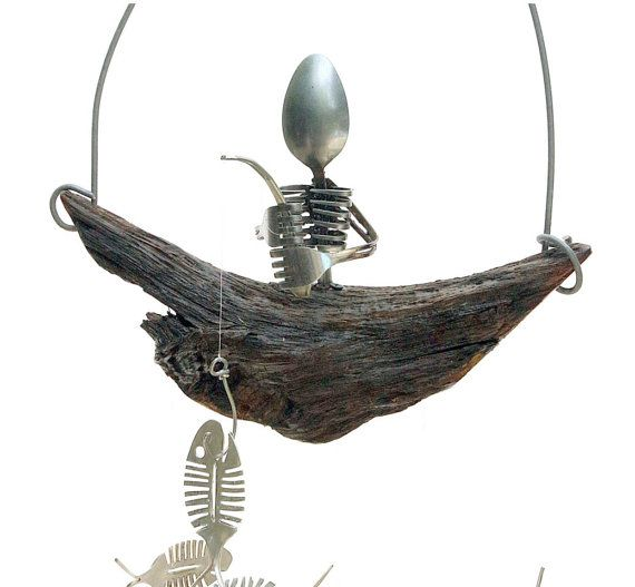 Spooky Spoon Skeleton Mobile and Bone Fish chime by NevaStarr