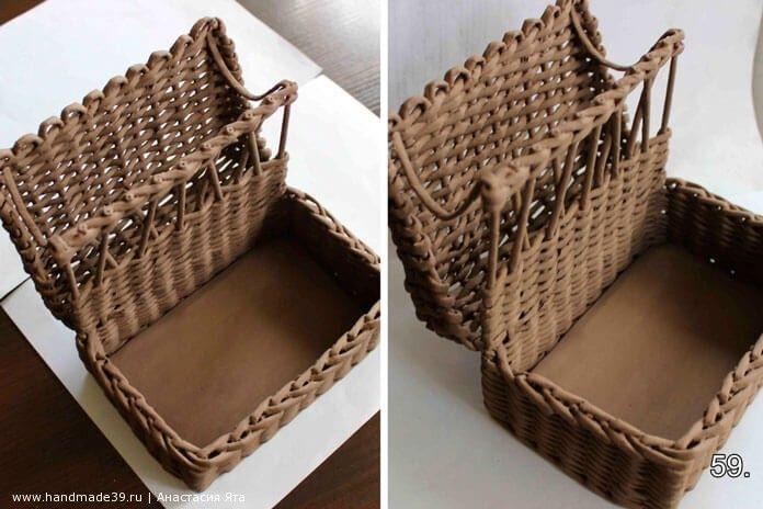 Плетёная подставка для салфеток и специй из газетных трубочек – мастер-класс. Чемоданчик из бумажной лозы. Поделки своими руками. Заказать, купить