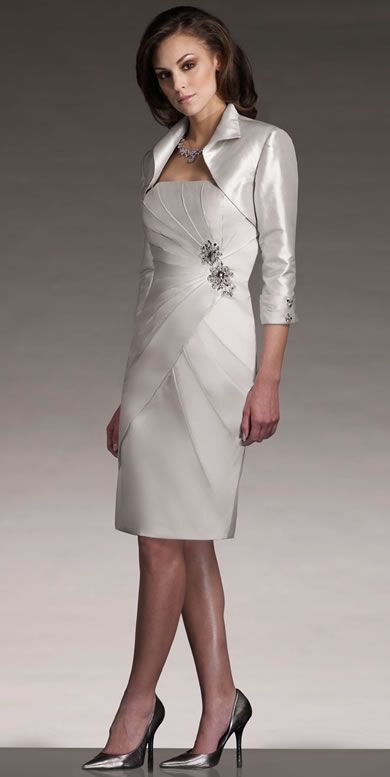 Mother of the Bride Dress | Short Mother of the Bride Cocktail Dress with Shrug Jacket ****