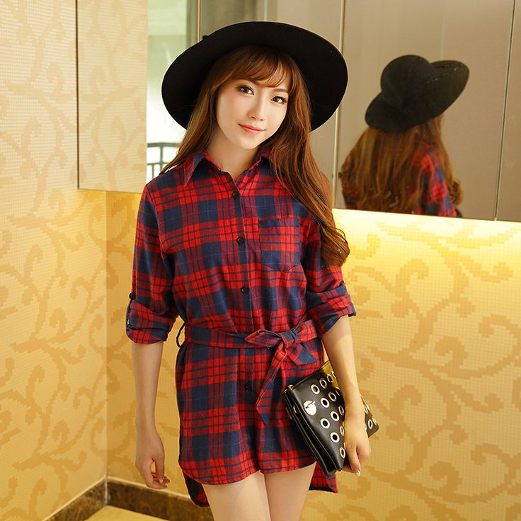 >> Click to Buy << new cotton casual shirt female long-sleeved red and black plaid shirt and long sections loose big yards joker S1077 #Affiliate