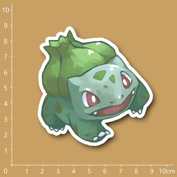 Купить товарАнимация Покемон Bulbasaur 001 Водонепроницаемый ПВХ наклейки для Ноутбуков холодильник…