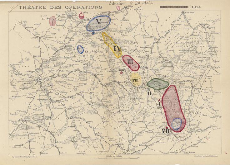 «Carte du théâtre des opérations » provient des archives d'Alexandre Millerand (1859-1943) ministre de la Guerre du 26 août 1914 au 29 octobre 1915, dans le gouvernement Viviani.  Archives nationales, 470AP/14 © Archives nationales, France