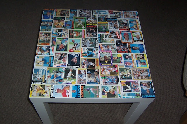 Lack Coffee table :. covered in baseball cards