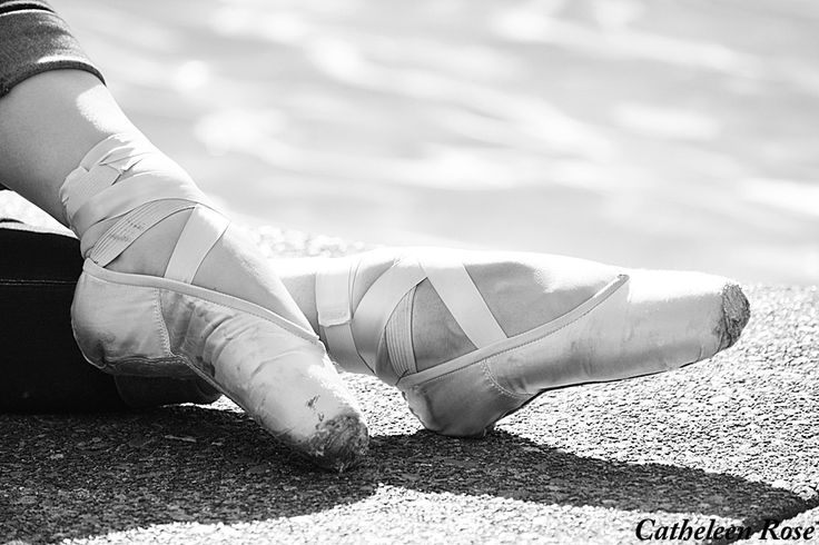 Cute black and white picture of pointe shoes!