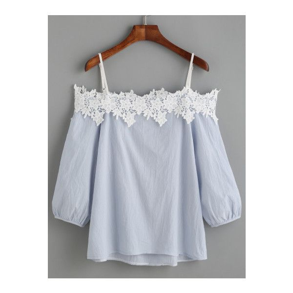 SheIn(sheinside) Light Blue Cold Shoulder Appliques Lantern Sleeve... ($13) ❤ liked on Polyvore featuring tops, blouses, blue, half sleeve tops, cut out shoulder top, beach tops, collar top and cold shoulder tops