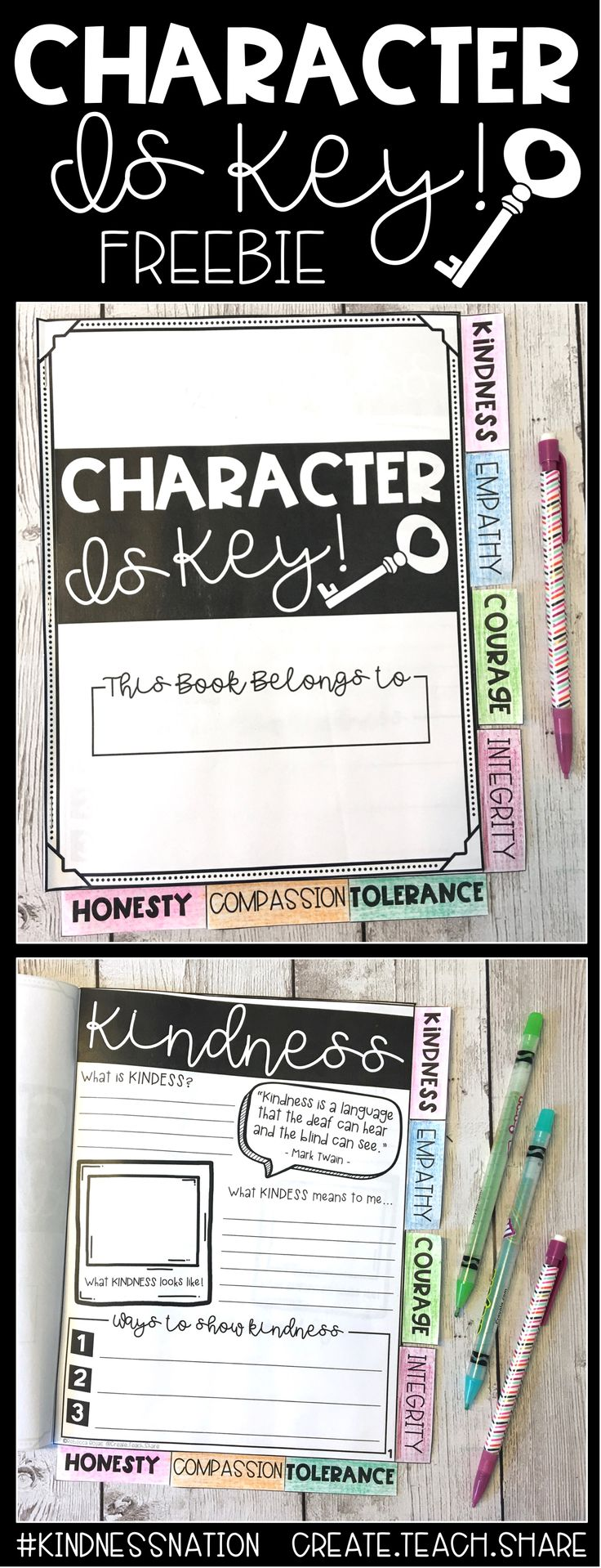 """This """"Character Is Key"""" Tab Book was designed to teach students about different character traits related to kindness and tolerance. It covers 7 character traits, and allows students to explore these traits and reflect on what these traits mean to them, and how they can show these positive traits throughout their lives. Perfect for character education, and teaching empathy, tolerance, kindness, courage, integrity, honesty, and compassion."""