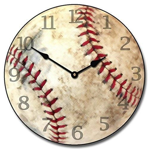 Baseball Wall Clock, Available in 8 sizes, Most Sizes Ship the Next Business Day, Whisper Quiet.