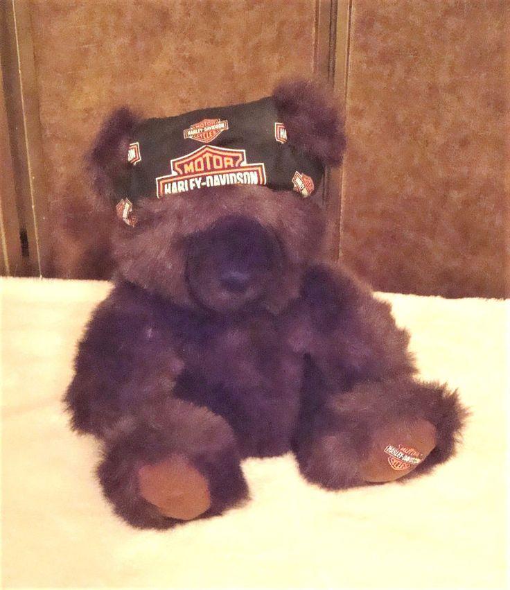 Authentic Harley-Davidson 2000 Brown Bear Bean Bag Plush Bear Toy W/ Do Rag #HarleyDaividsonCavanagh