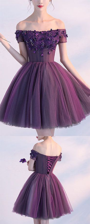 Cute A line Dark Purple Homecoming Dresses,Off-shoulder Short Prom Dress,Sexy Appliqued Homecoming Dress,Short Prom Gown with Beads,Homecoming Dress,HY54