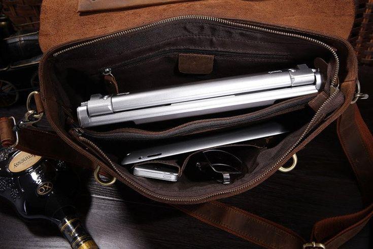 "Image of Antique leather Briefcase Laptop Messenger Bag Ipad 14"" 15"" Laptop 15"" Macbook Bag--FREE SHIPPING"