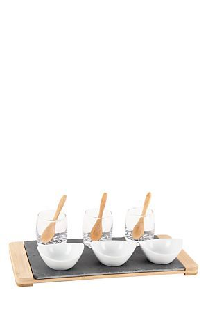 """This bamboo and slate combination is perfect for summer time entertaining. The canape sets will ensure easy serving and display of your tasty treats. This set includes 3 porcelain bowls, 3 mini glasses, 3 bamboo spoons, a slate and bamboo server. Wipe clean with damp cloth.<div class=""""pdpDescContent""""><BR /><b class=""""pdpDesc"""">Dimensions:</b><BR />L30xW15xH1.5 cm</div>"""