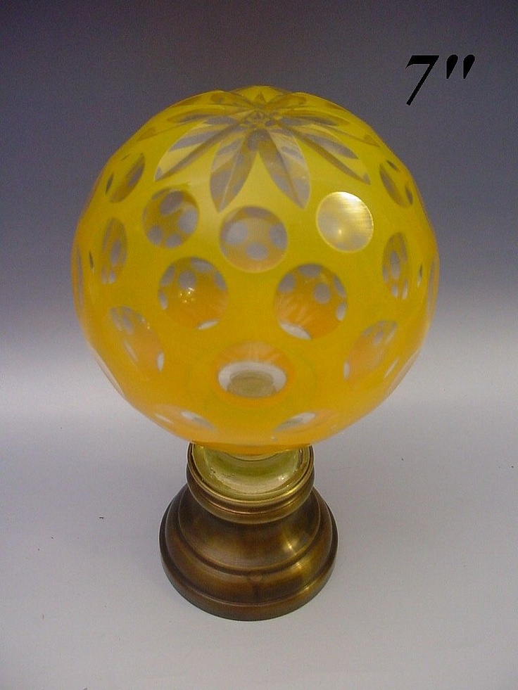 Rare Antique Yellow Cut to Clear Newel Post, Boule d'escalier from worldrarities on Ruby Lane