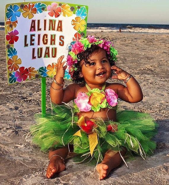 Baby Girl 1st Birthday Outfit for Luau  First Birthday Luau
