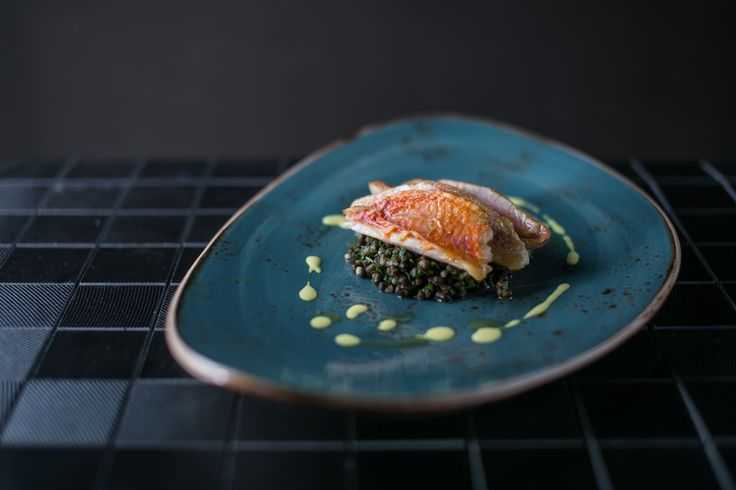 Grilled red snapper with beluga lentil, roasted beetroot and citrus gravy