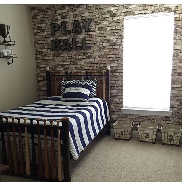 This vintage baseball room has us going like  This bed is awesome! Thanks for the tag @skywilson10
