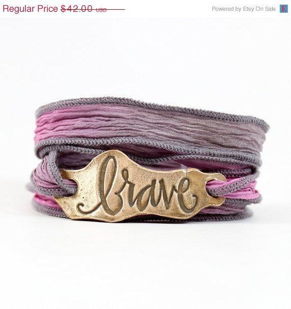 SALE Brave Silk Wrap Bracelet boho chic by horsefeathersgifts
