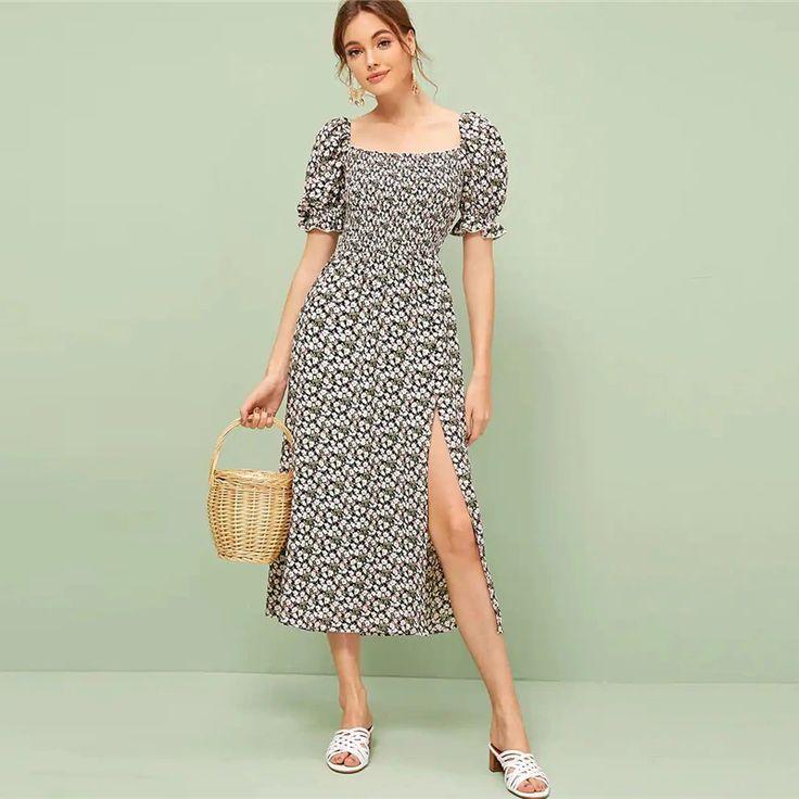 Women Ruffle Trim Boho Square Neck Floral Shirred Dress 1