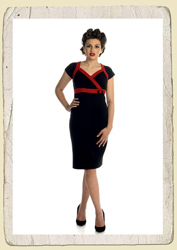 Rockabilly retro pencildress black/red
