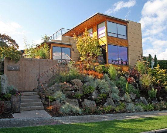 haus am hang-mit garten-vertikal steingarten-hangbefestigung ideen, Garten und Bauten