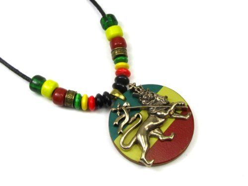 "Gold Tone Rasta Lion with Crown on Adjustable Cord Necklace, Accented with India Glass Crow Beads, and Rasta Color Wood Beads Creative Ventures Jewelry. $16.99. Wood disc with Rasta colors and lion with spear and crown pendant. Pendant comes on an adjustable cord slip knot necklace. Gold tone pewter lion rests on top of wood disc. Pendant measures 1 1/2"" diameter and 1/4"" thick. Necklace is decorated with glass crow beads from India and Rasta color wood disc beads"