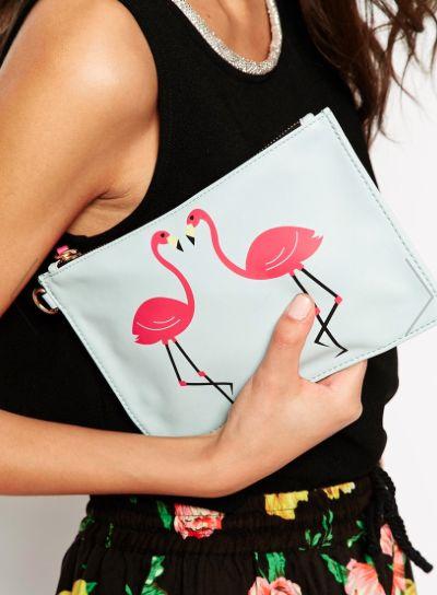 love this flamingo print clutch