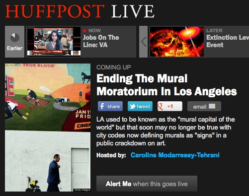"""BREAKING NEWS!    Danielle Brazell, our Executive Director, will serve as a panelist on HuffPost Live tonight. She'll join other Angelenos discussing the """"mural moratorium"""" and LA's identity as the """"mural capital of the world""""    Click here to be alerted when the segment goes live: http://live.huffingtonpost.com/r/segment/street-art-vs.-illegal-signs/5123ccb078c90a1d860000c8"""