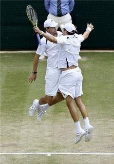 the Bryan brothers winning Wimbledon & doing their 2011 Wimbledon championship chest bump
