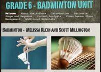 Badminton Unit. Grade 6. Melissa Kleim y Scott Millintong.