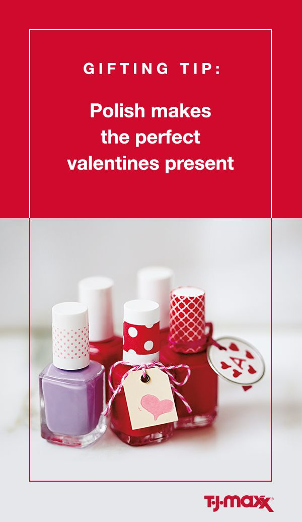 Share the love this Valentine's Day with this easy DIY gift idea for all the gals in your life. Simply pick up a bottle of nail polish in her favorite color. Then get creative with ribbon, baker's twine and a personalized gift tag. Find more Galentine's Day gifts at T.J.Maxx and tjmaxx.com.
