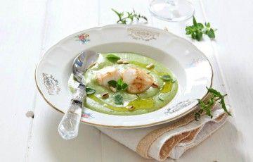 Capesante su crema tiepida di zucchine e patate