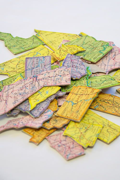 a map of the states in magnet form. what a fun idea!Diy Maps, Diy Puzzles, Magnets Boards, Diy Magnets, Old Maps, World Maps, Maps Magnets, Puzzles Piece, Learning Puzzles