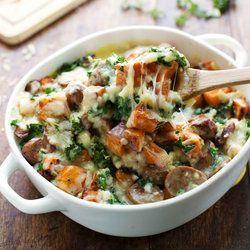 Could modify to use regular potatoes and kielbasa. Sweet Potato, Kale and Turkey Sausage Bake