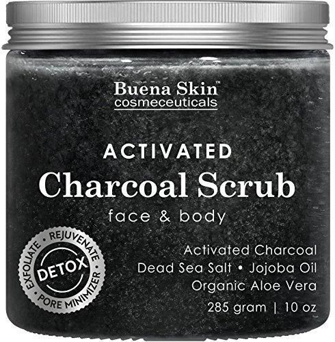 Activated Charcoal Scrub 10 oz.- Pore Minimizer & Reduces Wrinkles Blackheads & Acne Scars & Anti Cellulite Treatment - Great Body & Face Cleanser by Buena Skin