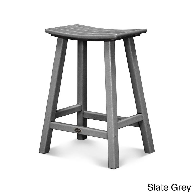 Polywood Traditional 24-inch Saddle Bar Stool (Slate Grey), Patio Furniture (Plastic)