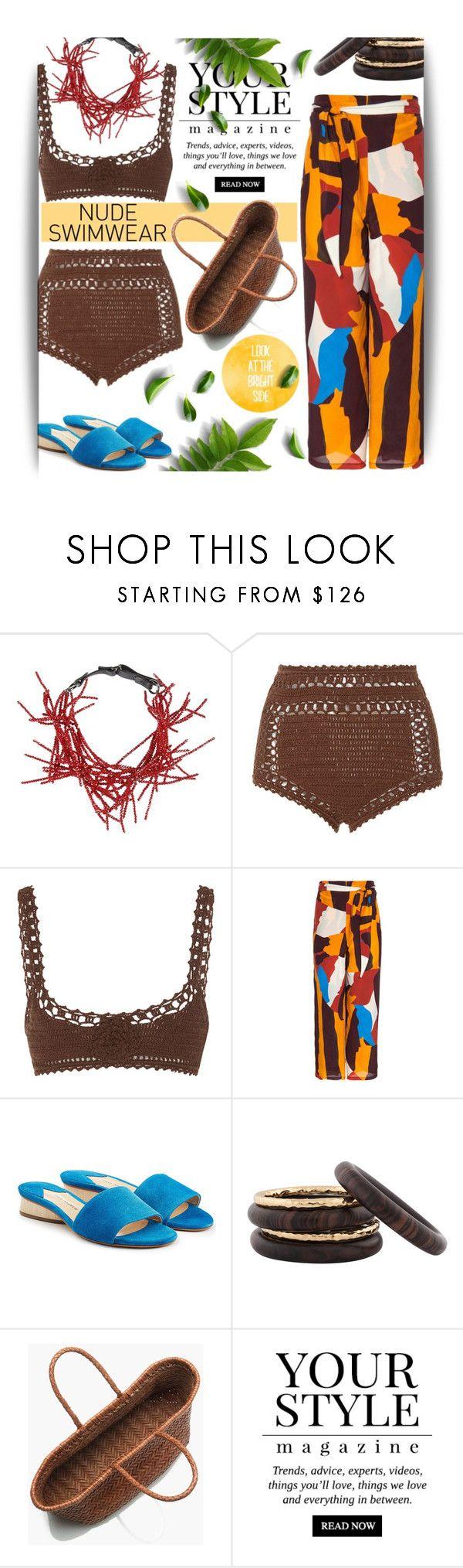 """nude swimwear"" by maranella ❤ liked on Polyvore featuring Brunello Cucinelli, SHE MADE ME, Paul Andrew, Nest, J.Crew, Pussycat, crochetbikini and nudeswimwear"