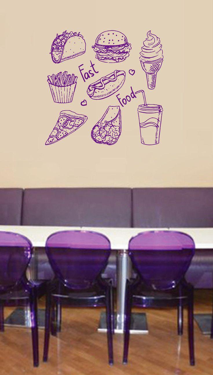 Наклейки На стены Наклейки хот дог cola фаст фуд гамбургер закуски мороженое бесплатная доставкакупить в магазине YIFan E-Business CO.,LTDнаAliExpress
