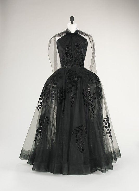 Madeleine Vionnet, Dress (Robe de Style) of Transparent Chiffon over Silk Underdress with Decorative Grapes Design. French, c. 1939.