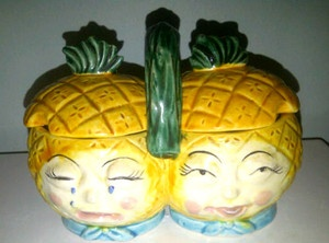 Vintage Ceramic Jam Container Anthropomorphic Smiling and Crying Pinapple Heads