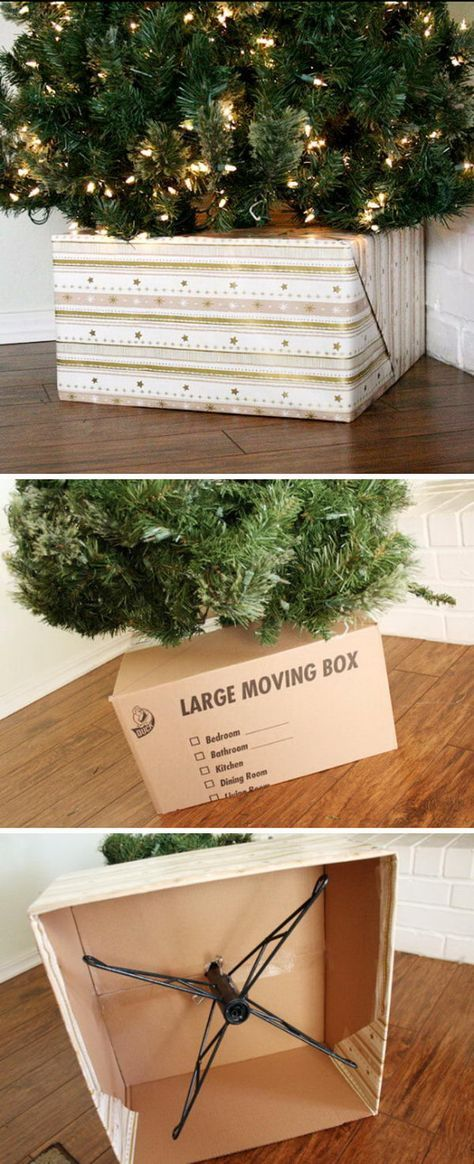 Wrapped Present Look DIY Christmas Tree Base.