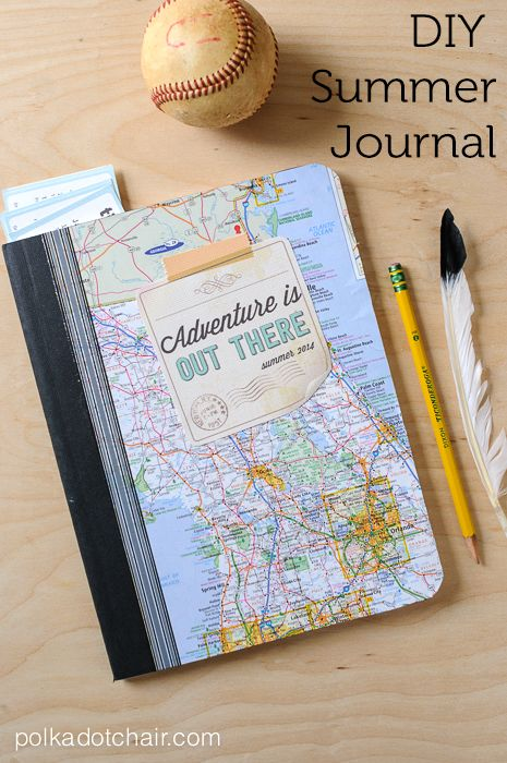 """DIY Summer Journal and Free """"Adventure is Out There"""" Printable. great idea for kids to document their summers!"""