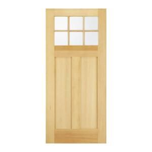 Jeld wen craftsman 6 lite unfinished hemlock slab entry for Exterior door slab