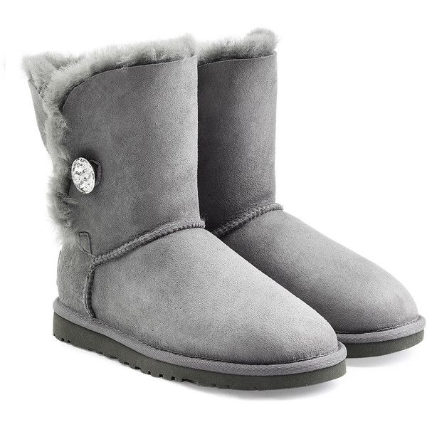UGG Australia Bailey Bling Boots (£145) ❤ liked on Polyvore featuring shoes, boots, grey, gray boots, grey boots, rounded toe boots, grey shoes ve mid-calf boots