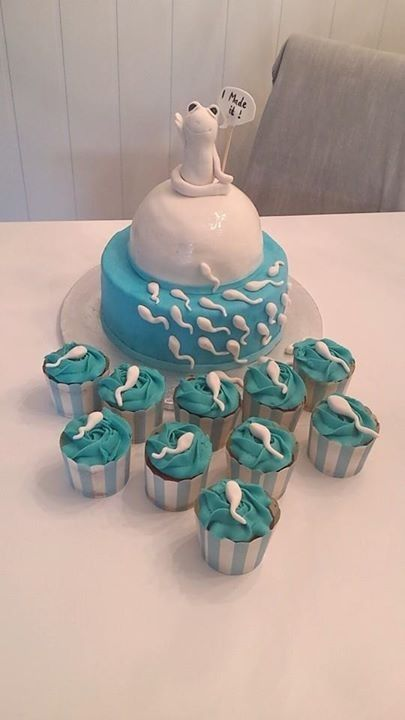 """The """"I Made It"""" cake.  Creative? Yes. Cute? Almost. You see, most guests won't find staring into a cake-replica of your """"baby daddy's"""" sperm cute...or appetizing."""